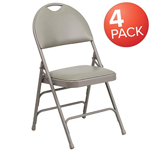 Flash Furniture 4 Pk. HERCULES Series Ultra-Premium Triple Braced Gray Vinyl Metal Folding Chair with Easy-Carry Handle