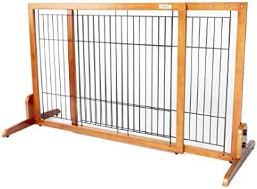 Simply Plus Wooden Pet Gate No Door, Freestanding Pet Dog Gate for Indoor Home & Office Use. Keeps Pets Safe. Easy Set Up, No Tools Required