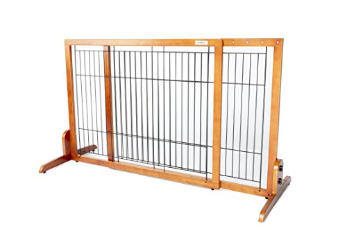 Simply Plus Wooden Pet Gate No Door, Freestanding Pet Dog Gate, for Indoor Home Office Use. Keeps Pets Safe Easy Set Up, No Tools Required