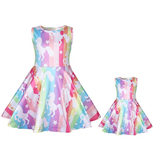 Girls & Doll Matching Dresses Unicorn Sleeveless Clothes Outfits Fits 18