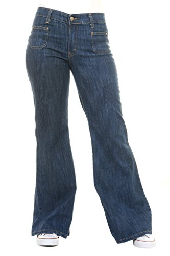 Run & Fly Ladies 60's 70's Disco Retro Vintage Blue Stretch Hippy Wide Leg Bell Bottoms Super Flares 10 Long
