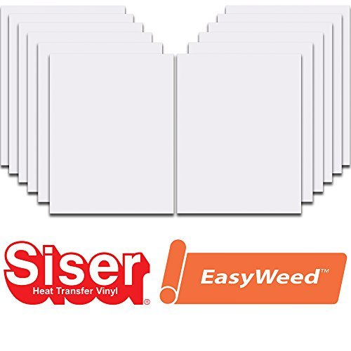 Siser EasyWeed Heat Transfer Vinyl HTV for T-Shirts 12 x 15 Inches 12 Precut Sheets (White, 12'' x 15'') by SISER
