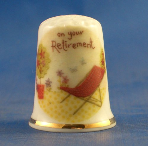 Birchcroft Porcelain China Collectable Thimble -- Retirement Birchcroft China