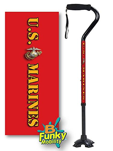 Adjustable Walking Cane Foam Handle Quad Footed Four Pointed Cane Tip US Marines Red Military Design