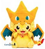 Peluche Pikachu Dracaufeu Grand Modèle Version Bouche fermée - Edition Limité & Exclusive Pokemon Center Tokyo (Import Japon - Produit Officiel)