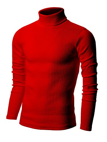 - Nyfashioncity Men's Basic Ribbed Cotton Thermal Turtleneck T-Shirts Large Red