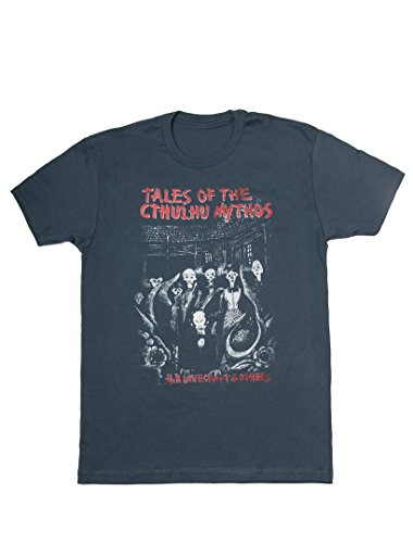 (Out of Print Men's Tales of The Cthulhu Mythos T-Shirt X-Large Indigo)