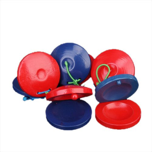 Jackson 5 Costumes Ideas (MAZIMARK--B632 5 parts Round wooden Castanets Musical Instrument toy for children - red an)