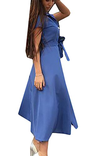 Women's Buttons Blue Stylish Midi Color Dress Lapel Solid Swing Party Domple dxZXTqd