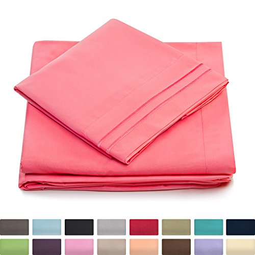 Queen Size Bed Sheets - Brink Pink Luxury Sheet Set - Deep Pocket - Super Soft Hotel Bedding - Cool & Wrinkle Free - 1 Fitted, 1 Flat, 2 Pillow Cases - Coral Queen Sheets - 4 Piece