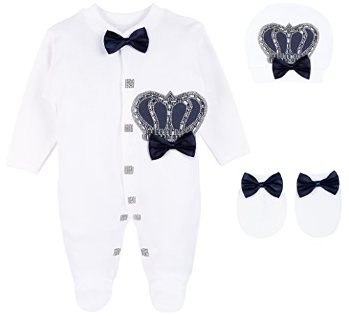(Lilax Baby Boy Newborn Crown Jewels Layette 3 Piece Gift Set 0-3 Months Navy)