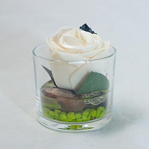 Creme Farbene Rose Im Glas Tischgesteck Tischdeko Mit Kunstlicher