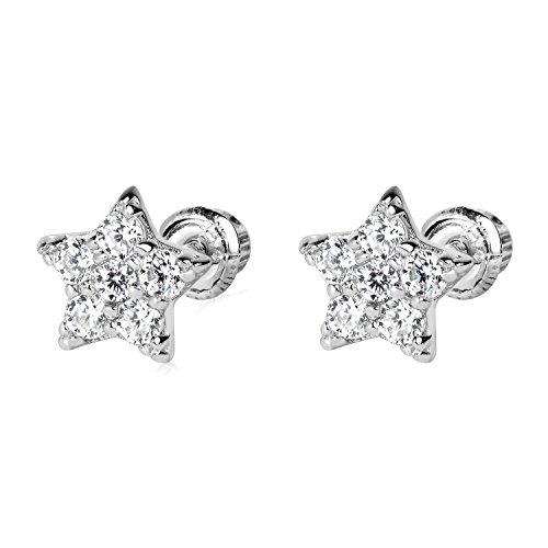 14k WG Star Stud Earrings 4892 ()