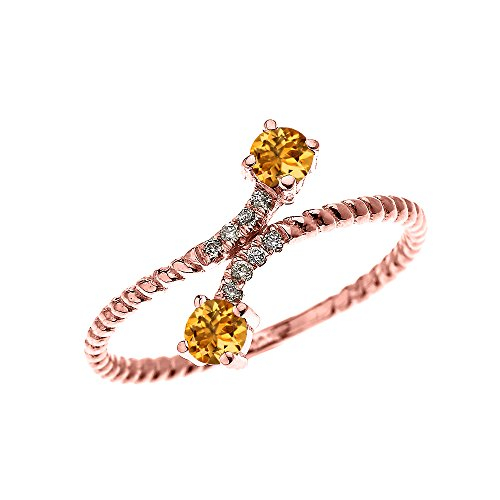 Citrine Rope - 10k Rose Gold Dainty Diamond and Two Stone Citrine Rope Design Ring(Size 4)