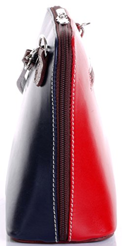 Italian Leather, Navy Blue Red and Brown Small/Micro Cross Body Bag or Shoulder Bag Handbag. Includes Branded a Protective Storage Bag.