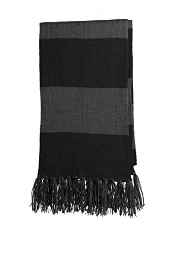 Sport-Tek Men's Spectator Scarf OSFA Black/ Iron Grey ()
