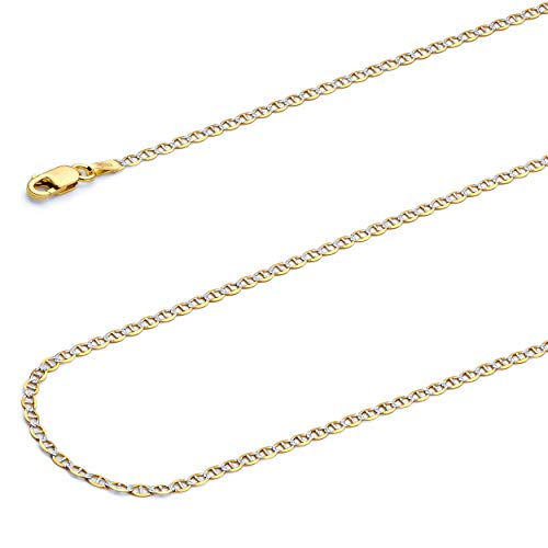 Wellingsale 14k Two Tone Yellow and White Gold SOLID 2mm Polished Flat Mariner White Pave Diamond Cut Chain Necklace with Lobster Claw Clasp - 16