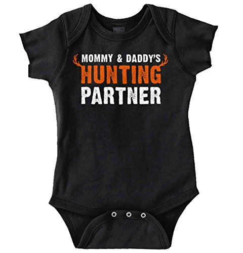 Mommy and Daddy Hunting Partner Deer Hunter Romper Bodysuit Black