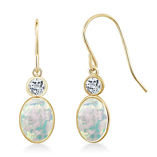 Gem Stone King 1.54 Ct Oval Cabochon White Simulated Opal White Topaz 14K Yellow Gold Earrings ()
