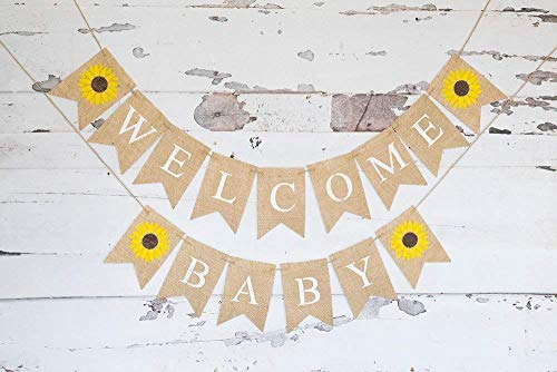 Welcome Baby Sunflower Banner for Summer Baby Shower or Gender Reveal Décor