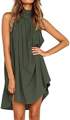 d5d1be1aea1 Amazon.com  lotus.flower 2018 Ladies Sleeveless Beach Irregular Loose Dress  Holiday Party Dress (S