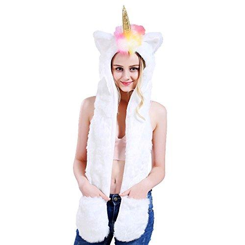 (Crazy lin Unicorn Horn Furry Hoodie Scarfs Gloves 3 in 1 Earflat Cap Women Artificial Fur)