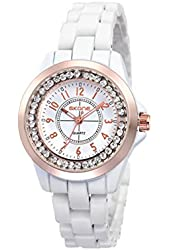 Scheppend Women's White Ceramic Strap Rose Gold Bezel Retro Wrist Watch