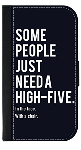 "Price comparison product image ""Some People Just Need A High Five. In The Face. With A Chair."" TM Leather and Suede Look Passport Cover with Double-Sided Design Made in the USA"
