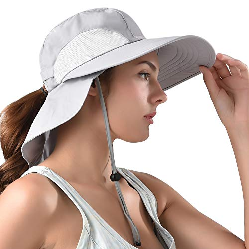 b193aba9 camptrace Safari Sun Hat Wide Brim Fishing Hat with Neck Flap for Women  Ponytail Packable Sun Protection UPS UPF 50+ for Hiking Hunting Camping