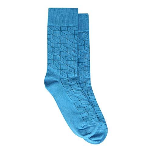Meia Happy Socks Cano Alto Optic Feminina - Azul - 34-38