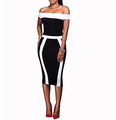 TheFound Women's Black and white Stripes Cocktail Party Evening Bodycon Dress