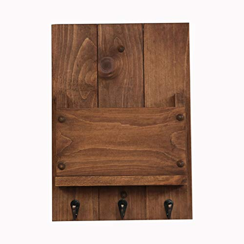 Rooms Organized Wall Mounted Key Holder Letter Organizer for Entryway Pine Wood Made in The USA ()