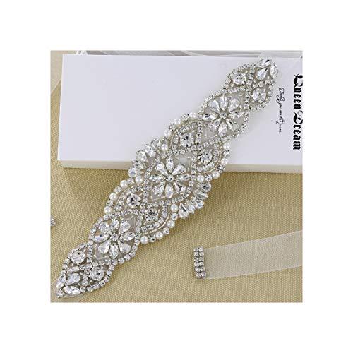 Organza Crystal - Rhinestone Sash Belt Clear Silver Crystal White Organza Ribbon for Wedding Party Prom Evening Dresses