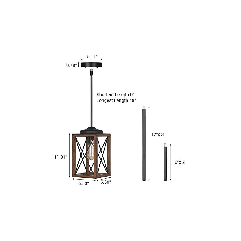 DEWENWILS 2 Pack Farmhouse Pendant Light, Metal Hanging Light Fixture with Wooden Grain Finish, 48 Inch Adjustable Pipes…