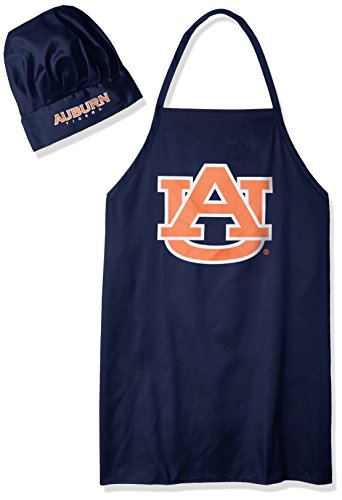 Pro Specialties Group NCAA Auburn Tigers Mens Chef Hat Anhd Apron, Full Color Team Logo