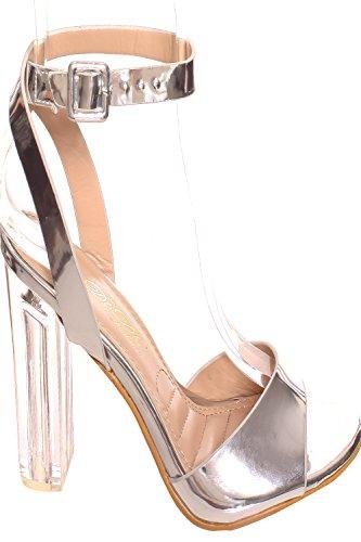Elegante Cinturino Aperto Con Cinturino Alla Caviglia Trasparente In Tinta Unita Trasparente Tacco Grosso Argento-chacha-9