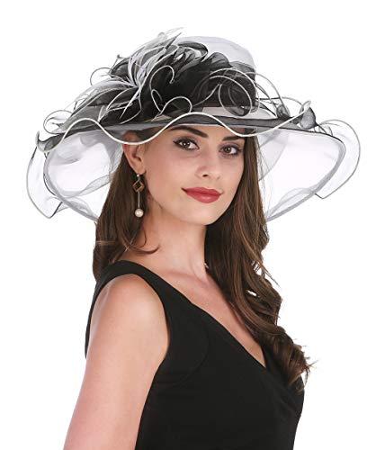 SAFERIN Women's Organza Church Kentucky Derby Fascinator Bridal Tea Party Wedding Hat(White and Black Flower)]()