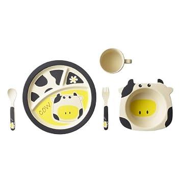 Make Dinner Time Fun PIG KIDS DINNER SET Bamboo Made 5 Pcs Gift Set**NEW**