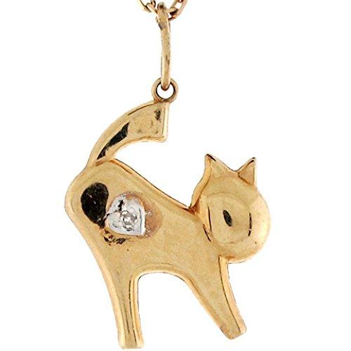 Jewelry Liquidation 14k Real Yellow Gold & Diamond Cat Cute Womens Charm Pendant