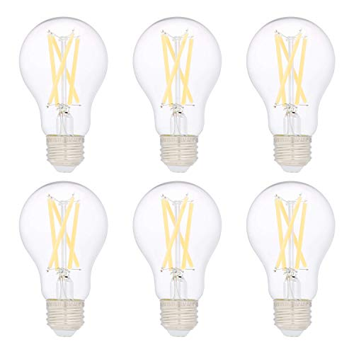 Amazon Basics 75W Equivalent, Clear, Soft White, Non-Dimmable, 10,000 Hour Lifetime, A19 LED Light Bulb | 6-Pack