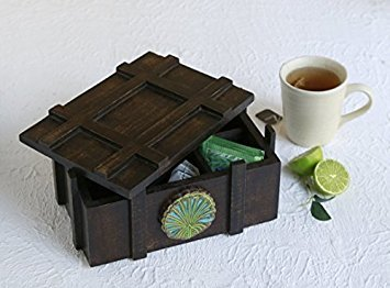 Handmade Wooden Tea Box Teabags Holder Chest Organizer with 6 Compartments Storage Box with Floral Design