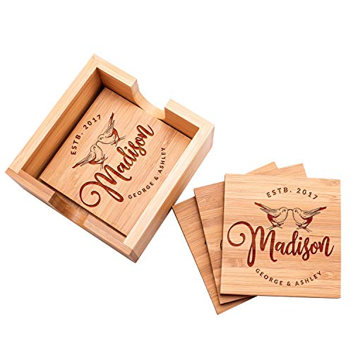Personalized 4 Coasters Set with Holder Drink Coaster for Beer Cocktail Coffee Tea 4x4 Bamboo Wood Monogram Coaster Kit Customizable with Name Date Personalized Gifts Women Men Wedding Favors #8