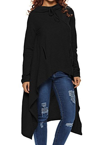 Dokotoo+Womens+High+Low+Tunic+Sweatshirts+String+Hoodie+With+Pocket+X-Large+Black