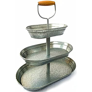 1 X Triple 3 Tier Serveware Steel Serving Stand Collapsible Galvanized Metal with Real Wood Handle