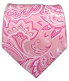 100% Woven Silk Organic Baby Pink Paisley Tie