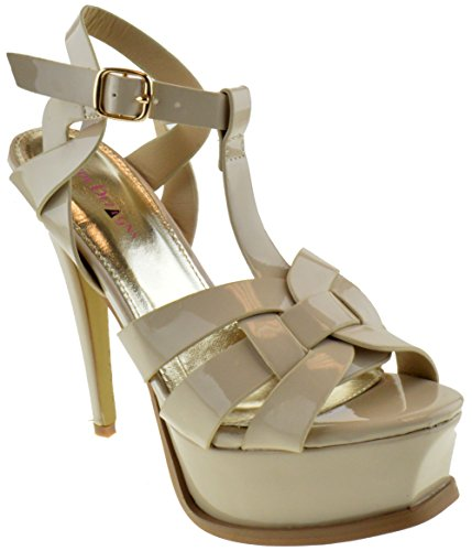 Lauren 87 Womens Strappy Square Toe Patent Platform Natural Beige 5