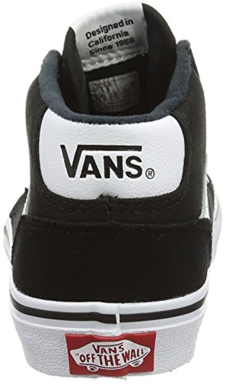 Vans Unisex Kids' Chapman Mid Hi-Top Sneakers, Black (Suede Canvas Black/White), 1 UK