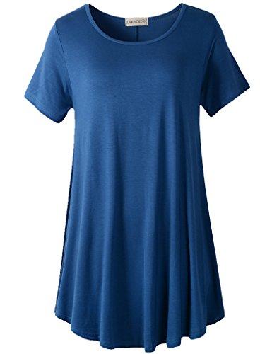 LARACE Women Short Sleeves Flare Tunic Tops for Leggings Flowy Shirt (2X, Steel Blue) ()