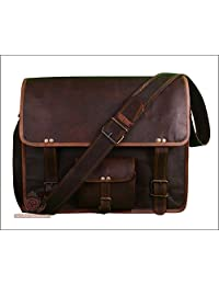 Men's Handmade Vintage Genuine Goat Leather Messenger Travel Office Laptop Crossbody Shoulder Bag Office Bag College Bag 18 Inches