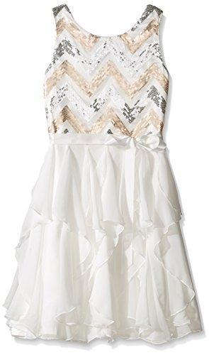Emily West Girls' Big Chevron Knit Bodice Chiffon Waterfall Skirt Dress, Ivory/Gold, 14